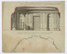 Esquisse d'élévation coupe et profil de la salle à manger du château par Claude-Joseph-Alexandre Bertrand, vers 1770.