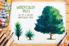 Watercolor Trees - Illustrations