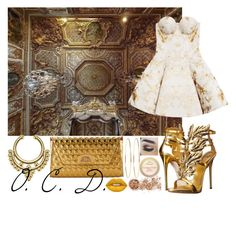 """Gold Marble."" by oreocaker ❤ liked on Polyvore featuring Christian Louboutin, Jennifer Meyer Jewelry, Giuseppe Zanotti, Josh Goot, In Your Dreams and Lime Crime"