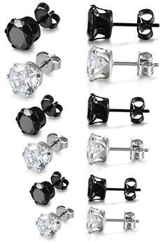 Earrings weekly special  Jstyle Stainless Steel Womens Mens Cubic Zirconia Stud Earrings Pierced 6 Pairs