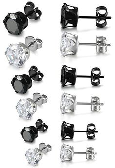 Jstyle Stainless Steel Womens Mens Cubic Zirconia Stud Earrings Pierced 6 Pairs - http://jewelry-and-watches.wegetmore.com/jstyle-stainless-steel-womens-mens-cubic-zirconia-stud-earrings-pierced-6-pairs/