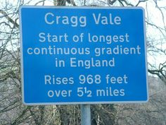 The Route of Le Tour de France 2014 in Yorkshire. Sign for the start of the Cragg Vale gradient, rising from village and dale to windy moor.