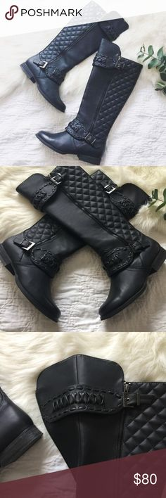 not rated • up street riding boots •not rated •upstreet riding boots •quilted design on the sides •criss cross design at the ankle and top of boot, see 3rd pic •2 belt buckle straps at the ankle and top of boot •2 side zippers •worn for one occasion •comes with styrofoam inserts •these are gorgeous boots! •size 6  •please see all pics, read description, and ask questions before purchasing   •no trades• •reasonable offers welcomed• •10% off 2+ items• Not Rated Shoes