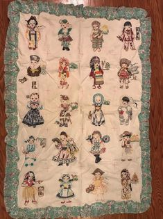 Vintage Hand Made Embroidered Children of the World Blanket / Quilt