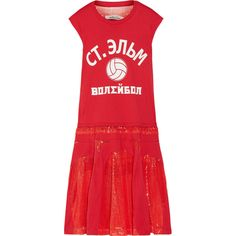 Junya Watanabe Cotton-jersey and sequined tulle dress (€1.375) ❤ liked on Polyvore featuring dresses, crimson, sequin tulle dress, tulle dress, sequin embellished dress, red sequin dress and sporty dresses