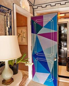 #AD100 decorator @milesredds splashy new Manhattan office functions as a 3D calling card meant to demonstrate Redds adventurous style. Case in point: the reverse of a door is sheathed in a Cubist-inspired collage of jewel-toned Prelle silk velvets with gold nailheads. Take the full tour of the office through the #linkinbio. Photo by @francoisdischinger - Architecture and Home Decor - Bedroom - Bathroom - Kitchen And Living Room Interior Design Decorating Ideas - #architecture #design…