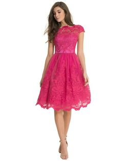 I like this hot pink lace knee height dress