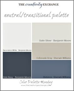 Readers' Favorite Paint Colors {Color Palette Monday} I hope you guys had a fantastic weekend and a great of July! This week for Color Palette Monday, I've pulled a palette together of readers' favorite paint colors from feedback over the last 12 Paint Color Palettes, Paint Color Schemes, Exterior Paint Colors, Paint Colors For Home, Paint Colours, Nautical Paint Colors, Exterior Color Palette, Basement Paint Colors, Exterior Paint Schemes