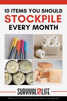 Stockpile on these prepper items each month. There's no need to buy a truckload of them all at once. #survivalkit #survivalitems #survivaltips #survival #preparedness #SHTF #survivallife Survival Items, Survival Life, Survival Food, Emergency Preparedness, Survival Skills, Canning Lids, Skills To Learn, Nature Study