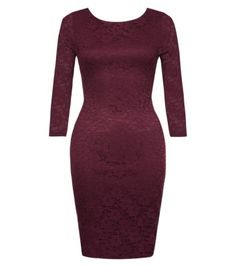 Purple Lace 3/4 Sleeve Bodycon Dress, new look
