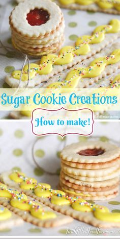 Fun Easy Sugar Cookie Creations ~ you can make a lot of different kinds of cookies out of one simple homemade sugar cookie dough. These ideas are yummy and creative! Easy Cookie Recipes, Candy Recipes, Easy Desserts, Delicious Desserts, Dessert Recipes, Yummy Food, Fast Recipes, Dinner Recipes, Baking Recipes