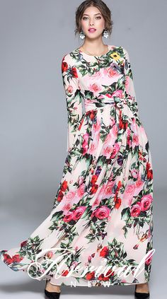 Elegant O-Neck Long Sleeve Floral Print Maxi Dress