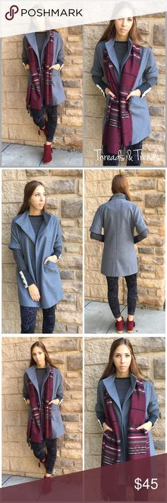 "Grey Blazer Jacket Back to basics grey blazer jacket. 3/4 length cuffed sleeves, open front and two front pockets. Made of a hemp faux wool. Fully lined. Size S/M.                                                          Bust 40"" Sleeve length 16"" Length 32"" Threads & Trends Jackets & Coats Blazers"