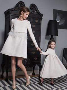 Mother Daughter Outfits, Mode Chic, Vestidos Vintage, Kids Fashion, Womens Fashion, Matching Outfits, Baby Dress, Quinceanera Dresses, Dress Skirt