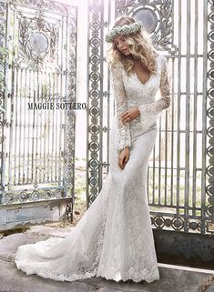 Perfect for either the garden or church wedding, this romantic, lace sheath gown speaks to the free-spirited bride inspired by nature. Featuring long sleeves, and accented with three dimensional floral embellishments and Swarovski crystals. Finished with zipper back closure.