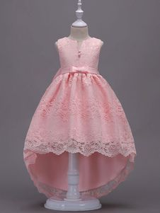 Lace Flower Girl Dresses Pink High Low Ball Gowns Sleeveless Bow Sash Princess P. Pink Flower Girl Dresses, Lace Flower Girls, Little Girl Dresses, Pink Dress, Frocks For Girls, Kids Frocks, Kids Blouse Designs, Dress Anak, Baby Girl Dress Patterns
