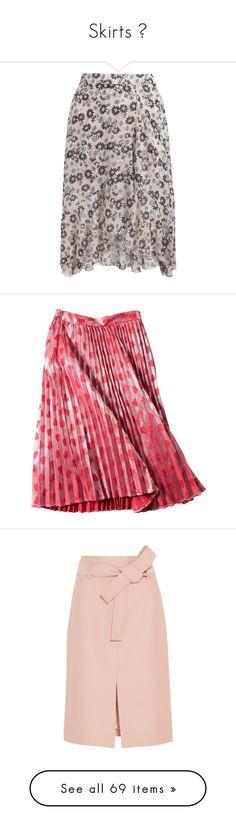 """Skirts 💋"" by kristi-alexandrova ❤ liked on Polyvore featuring skirts, asymmetrical ruffle skirt, chiffon skirt, flounce skirt, pink knee length skirt, floral printed skirt, calf length skirts, knee length pleated skirt, pleated skirt and red midi skirt"