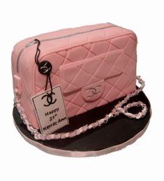 Vintage Purse Cake   handbag cake all edible black chanel handbag 40th birthday cake