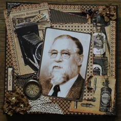 Vintage layout idea - Scrap canvas by Ineke Bruggeman honoring her dad. Heritage Scrapbook Pages, Vintage Scrapbook, Scrapbook Journal, Scrapbook Page Layouts, Scrapbooking Ideas, Masculine Art, Graphic 45, My Heritage, Scouts