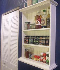 DIY spice rack/shelf repurposed from a medicine cabinet!