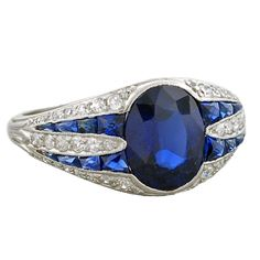 Art Deco Unheated Sapphire & Diamond Platinum Ring, ca. 1920