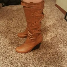 Boots Cute tan boots with some minor nicks on heel but won a few times Rue 21 Shoes Heeled Boots