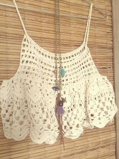 Top Crop Tejido En Crochet, Crochet Tank Tops, Crochet Summer Tops, Crochet Blouse, Knit Crochet, Diy Crochet Bikini, Diy Crafts Crochet, Crochet Cover Up, Black Crochet Dress