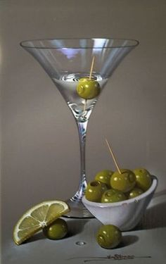 'Martini Glass with Olives' by Javier Mulió Still Life Drawing, Still Life Oil Painting, Still Life Art, Hyper Realistic Paintings, Still Life Photos, Wine Art, Still Life Photography, Contemporary Paintings, Glass Art