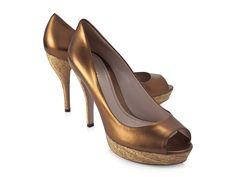 Gucci platform open toe shoes in bronze soft leather - Italian Boutique €289