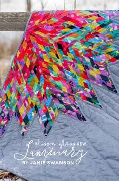 'Luminary' is a new take on a traditional lone star quilt, but with a modern improv twist. The color movement from the center to the tips is really spectacular!