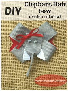 DIY Elephant Hair Bow Ribbon Sculpture + Video Tutorial. This is a GREAT thrifty gift idea for little girls on your holiday shopping list!
