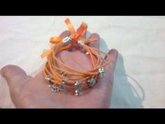 DIY: Como hacer pulsera brazalete con cordón y colgantes ( facil ) - YouTube