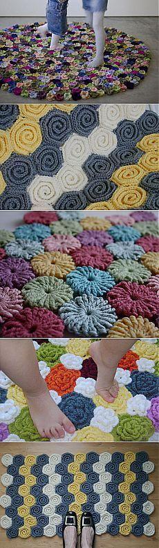 Цветочные коврики крючком. Идеи, мастер-классы