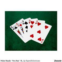 Poker Hands - Two Pair - King, Nine Postcard