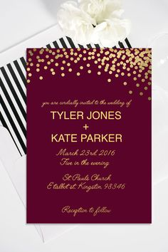 Modern customizable maroon and gold printable wedding invitation available for $20 at etsy.com/shop/kirstenjudkinsdesign