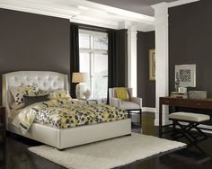Black Fox SW 7020 (walls) and Mink SW 6004 (ceiling) paint colors by HGTV Home and Sherwin Williams.