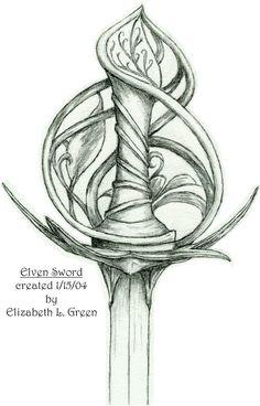 Elven Sword Pommel by Elizabeth L Green Drawing Sketches, Pencil Drawings, Art Sketches, Art Drawings, Sword Drawings, Drawing Swords, Fantasy Sword, Fantasy Weapons, Fantasy Art