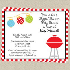 Baby-Q Invitations, Baby Shower Barbecue Invites, Set of 10 Printed Cards, Free Shipping