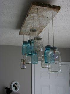 Luminaire suspension avec bocaux , royaumestyledeco