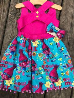 Pink Trolls Dress | Toddler Girl Dress | Summer Outfit | Pink Pom Pom | Toddler Outfit | Princess Po