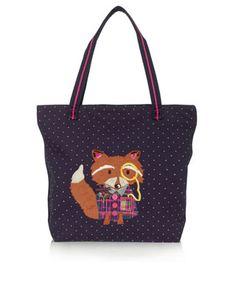Professor Fox Shopper Bag   Navy   Accessorize