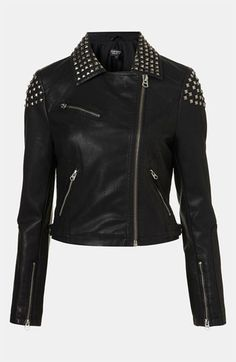 Topshop Studded Faux Leather Biker Jacket available at #Nordstrom