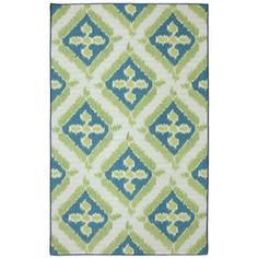 Summer Splash Rectangular Blue Geometric Outdoor Area Rug (Common: 8-ft x 10-ft; Actual: 8-ft x 10-ft)