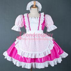 Sexy Sissy Maid Dress Lockable Uniform Hot Pink Pvc Dress Cosplay Costume Custom-Made[G756] - Sissy Maid Uniform