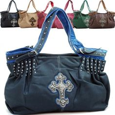 e7d48f33c9 Studded western hobo bag w  cross emblem   buckle detail (As Pictured) Cute