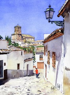 San Bartolome Albaicin Granada Greeting Card by Margaret Merry Watercolor Architecture, Watercolor Landscape Paintings, Watercolour Painting, Easy Watercolor, Watercolor Sketch, Watercolor Illustration, Easy Paintings, Beautiful Paintings, Diy Canvas Art