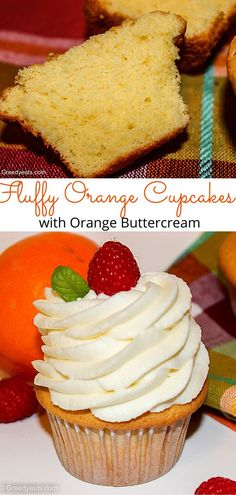 Fluffy moist and light orange cupcake recipe with sweet orange scent topped with fresh orange buttercream frosting. Quick Easy Desserts, Summer Dessert Recipes, Easy Baking Recipes, Delicious Desserts, Cake Mix Recipes, Frosting Recipes, Cupcake Recipes, Cupcake Ideas, Orange Cupcakes