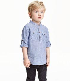 Stehkragenhemd   Blau/Gestreift   Kids   H&M DE