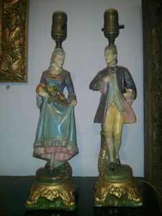Victorian figural lamp set.  Made in CANADA.  by galleryartiques