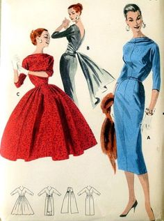 1950s Party Evening Cocktail Dress Pattern Draped Bateau Neckline, Deep V Back Slim Sheath With Cummerbund and Floating Back Panel or Full Skirt Butterick 7943 Vintage Sewing Pattern Bust 34